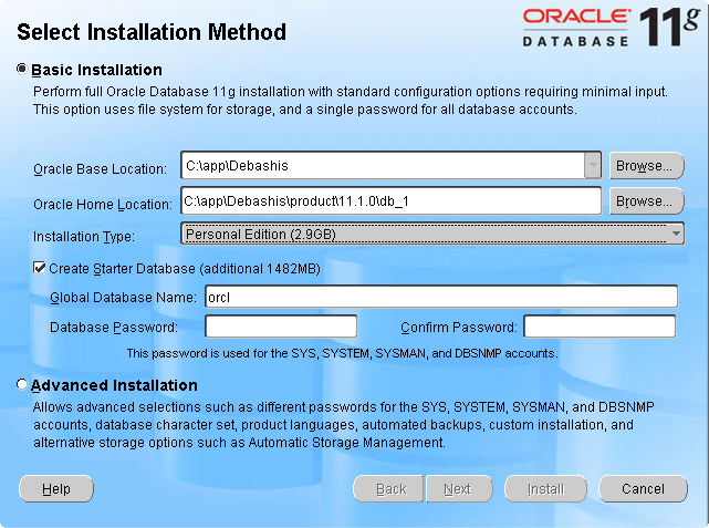 Oracle 11g Setup